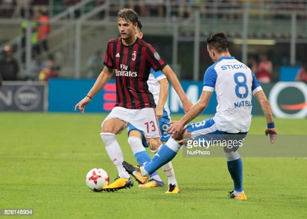 Manuel Locatelli during the preliminaries of Europa League 2017/2018 match between Milan v Craiova in Milan on august 3 2017
