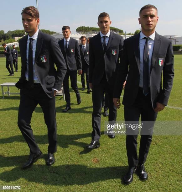 Manuel Locatelli Mattia Caldara and Davide Calabria of Italy U21 looks on during the official team photo at Centro Sportivo Fulvio Bernardini on June...