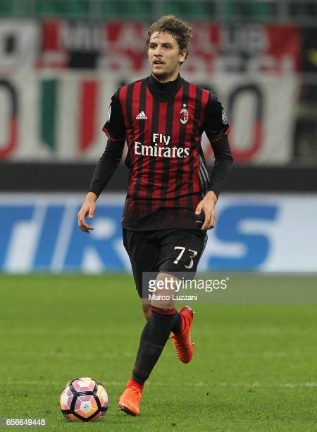 Manuel Locatelli of AC Milan in action during the Serie A match between AC Milan and Genoa CFC at Stadio Giuseppe Meazza on March 18 2017 in Milan...