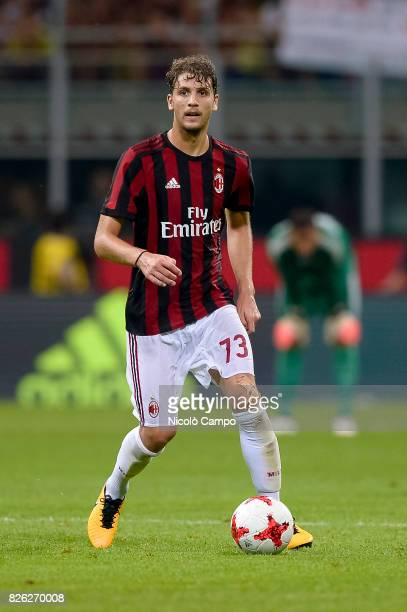 Manuel Locatelli of AC Milan in action during the UEFA Europa League qualifier football match between AC Milan and CSU Craiova AC Milan wins 20 over...
