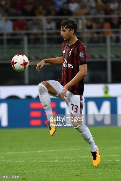 Manuel Locatelli of AC Milan in action during UEFA Europa League Qualifying Round match between AC Milan and CS U Craiova at Giuseppe Meazza of San...