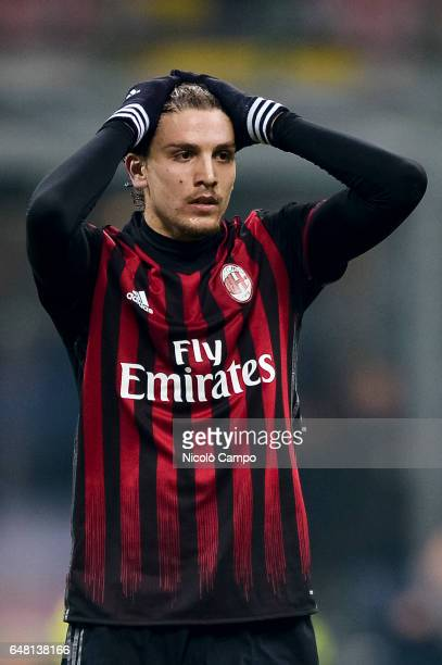 Manuel Locatelli of AC Milan is disappointed during the Serie A football match between AC Milan and AC ChievoVerona AC Milan wins 31 over AC...