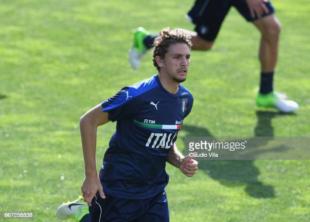 Manuel Locatelli of Italy in action during the training session at the club's training ground at Coverciano on April 11 2017 in Florence Italy