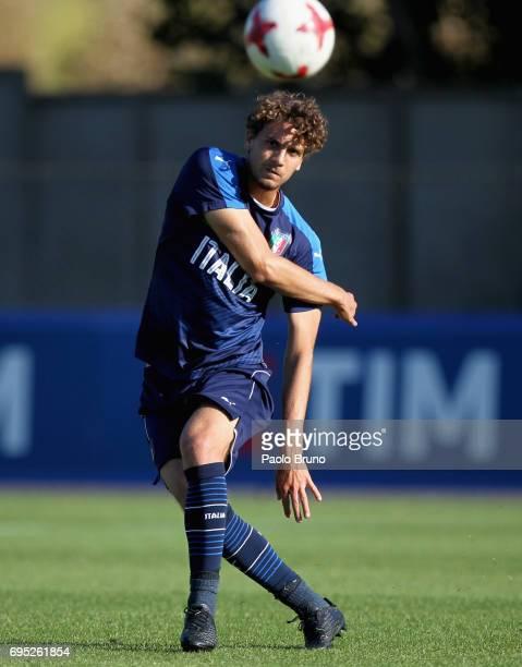 Manuel Locatelli of Italy U21 in action during the Italy U21 training session at Fulvio Bernardini sport center on June 12 2017 in Rome Italy