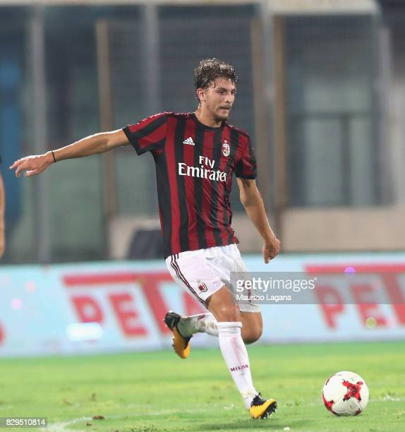 Manuel Locatelli of Millan during the PreSeason Friendly match between AC Milan and Villareal at Stadio Angelo Massimino on August 9 2017 in Catania...