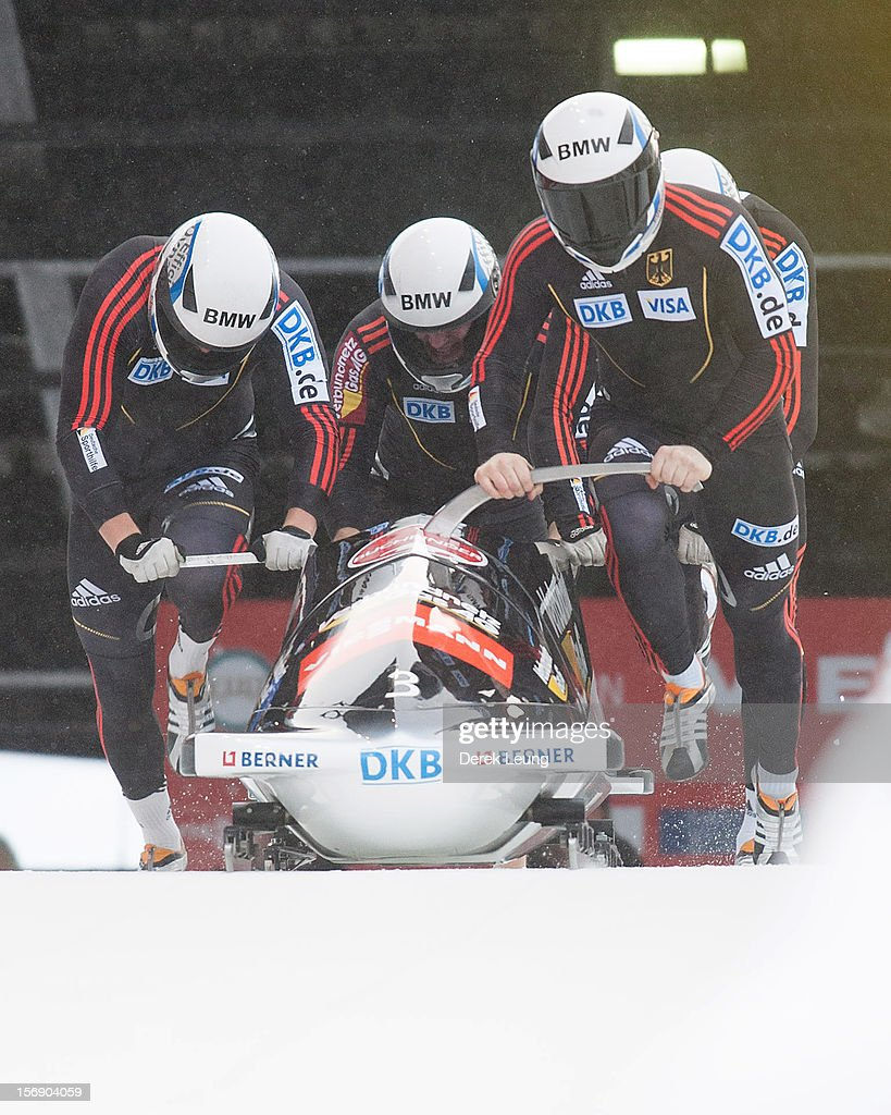 Manuel Machata, Christian Friedrich, Jan Speer, and Christian Poser of Germany 1 compete in the four-man bobsleigh on day 2 of the IBSF 2012 Bobsleigh and Skeleton World Cup on November 24, 2012 at the Whistler Sliding Centre in Whistler, British Columbia, Canada.