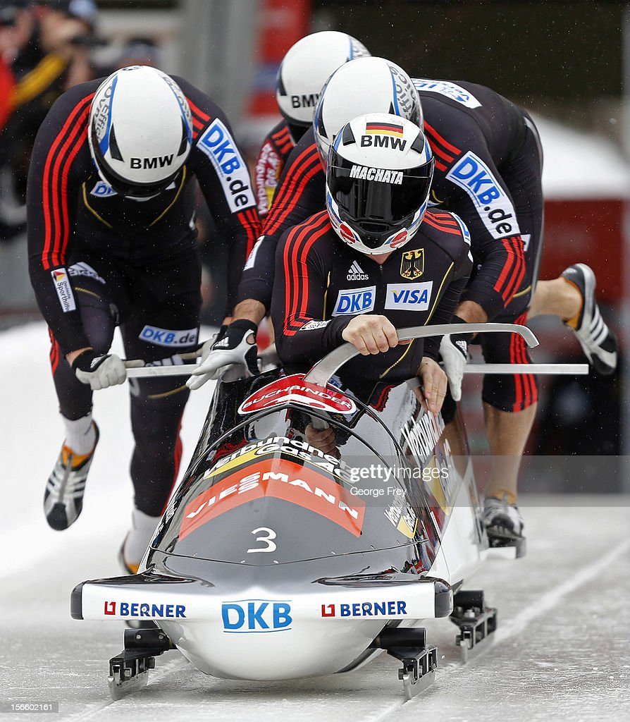 Manuel Machata drives German 1 sled to a third place finish in the FIBT Men's Four Man Bobsled World Cup Heat 1 at Utah Olympic Park on November 17, 2012 in Park City, Utah.