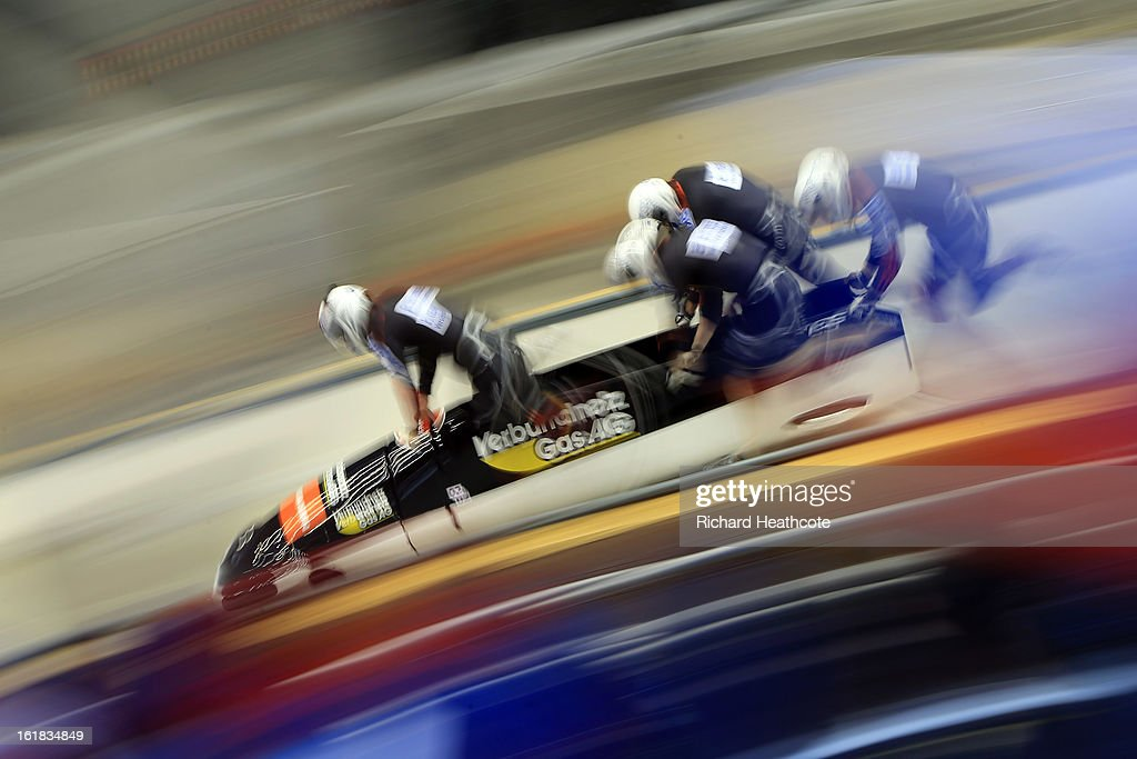 Manuel Machata of Germany launches his sled during the 4 man Bobsleigh Viessman FIBT Bob & Skeleton World Cup at the Sanki Sliding Center in Krasnya Polyana on February 17, 2013 in Sochi, Russia. Sochi is preparing for the 2014 Winter Olympics with test events across the venues.