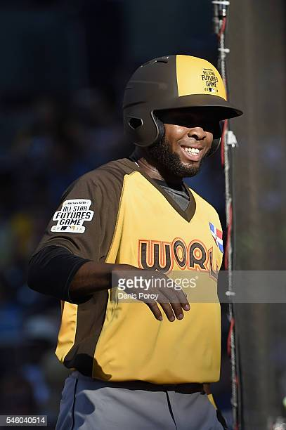 Manuel Margot of the San Diego Padres and the World Team scores a run during the SiriusXM AllStar Futures Game at PETCO Park on July 10 2016 in San...