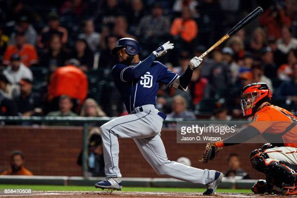 Manuel Margot of the San Diego Padres at bat against the San Francisco Giants during the first inning at ATT Park on September 29 2017 in San...