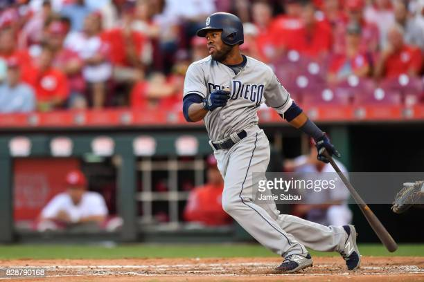 Manuel Margot of the San Diego Padres bats against the Cincinnati Reds at Great American Ball Park on August 8 2017 in Cincinnati Ohio