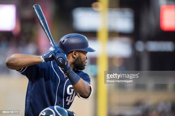 Manuel Margot of the San Diego Padres bats against the Minnesota Twins on September 12 2017 at Target Field in Minneapolis Minnesota The Twins...