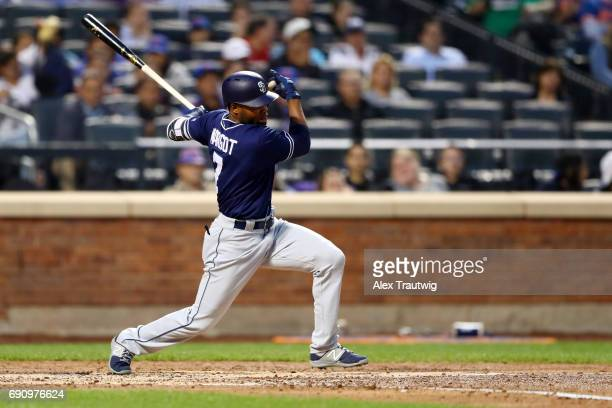 Manuel Margot of the San Diego Padres bats during the game against the New York Mets at Citi Field on Tuesday May 23 2017 in the Queens borough of...