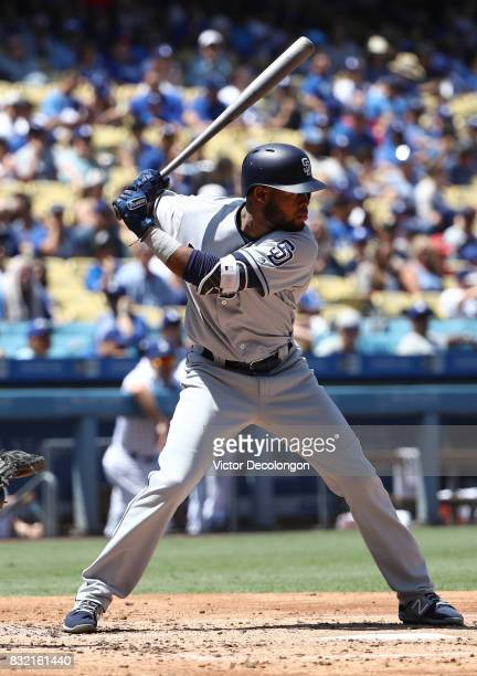 Manuel Margot of the San Diego Padres bats during the third inning of the MLB game against the Los Angeles Dodgers at Dodger Stadium on August 13...