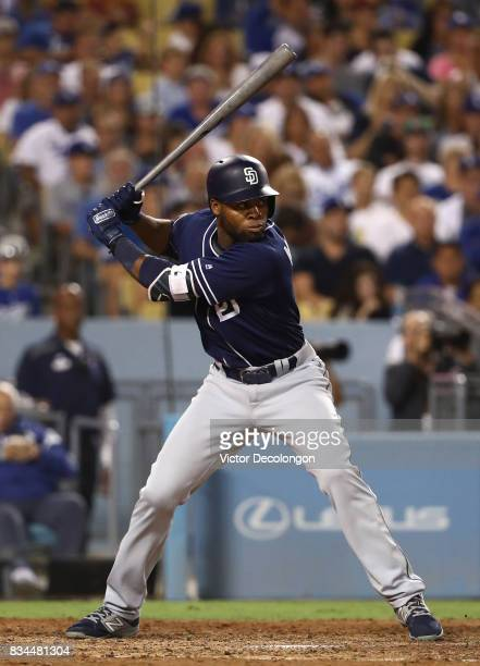 Manuel Margot of the San Diego Padres bats in the seventh inning during the MLB game against the Los Angeles Dodgers at Dodger Stadium on August 11...