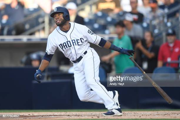 Manuel Margot of the San Diego Padres hits a solo home run in the first inning during the game against the New York Mets at Petco Park on July 27...