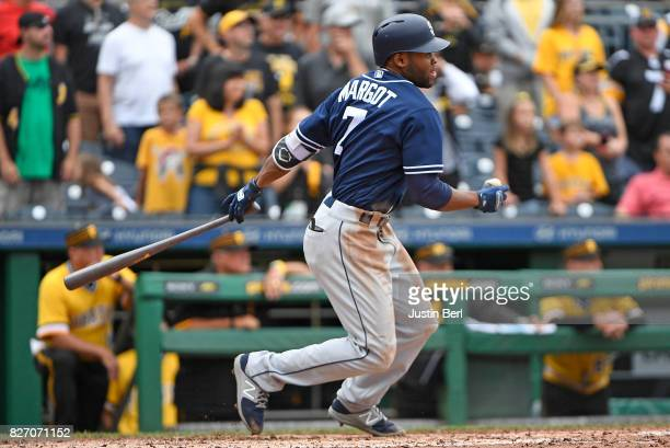 Manuel Margot of the San Diego Padres hits a two run single to left field in the ninth inning during the game against the Pittsburgh Pirates at PNC...