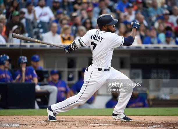 Manuel Margot of the San Diego Padres hits an RBI double during the second inning of a baseball game against the New York Mets at PETCO Park on July...