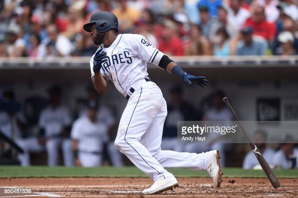Manuel Margot of the San Diego Padres hits during the game against the St Louis Cardinals at Petco Park on September 4 2017 in San Diego California