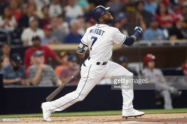Manuel Margot of the San Diego Padres hits during the game against the St Louis Cardinals at Petco Park on September 5 2017 in San Diego California