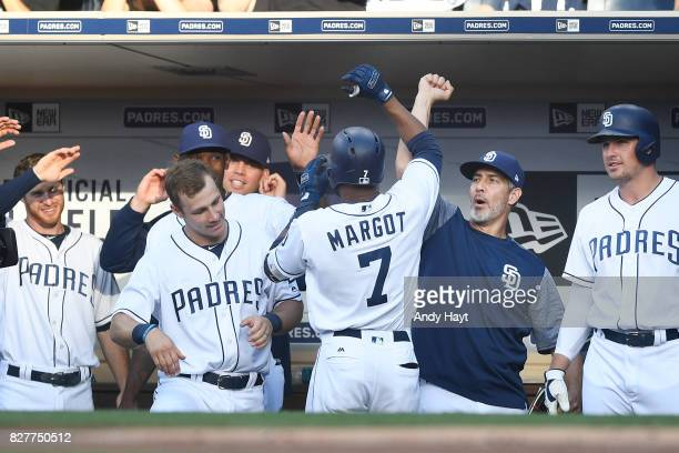 Manuel Margot of the San Diego Padres is congratulated by teammates after hitting a solo home run in the first inning during the game against the New...