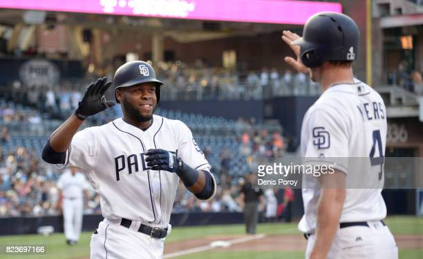 Manuel Margot of the San Diego Padres left is congratulated by Wil Myers after hitting a solo home run during the first inning of a baseball game...