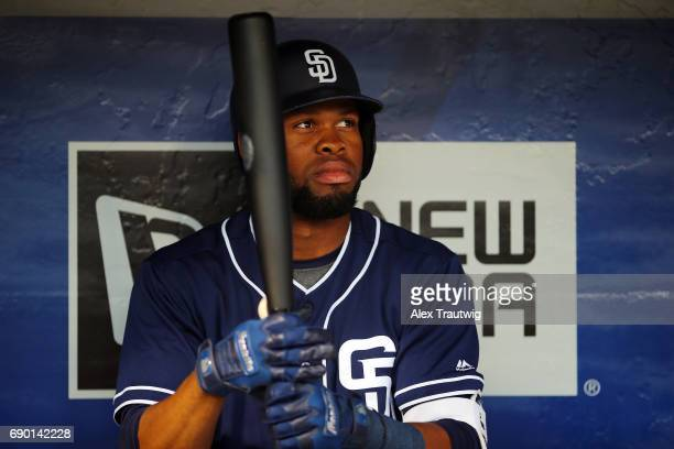 Manuel Margot of the San Diego Padres looks on from the dugout during the game against the New York Mets at Citi Field on Tuesday May 23 2017 in the...