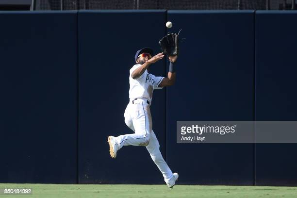 Manuel Margot of the San Diego Padres makes a catch in center field during the game against the St Louis Cardinals at Petco Park on September 4 2017...