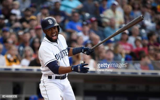Manuel Margot of the San Diego Padres plays during a baseball game against the New York Mets at PETCO Park on July 27 2017 in San Diego California