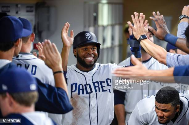 Manuel Margot of the San Diego Padres plays during a baseball game against the New York Mets at PETCO Park on July 26 2017 in San Diego California