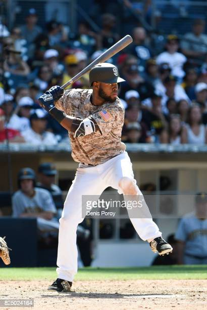 Manuel Margot of the San Diego Padres plays during a baseball game against the Pittsburgh Pirates at PETCO Park on July 30 2017 in San Diego...