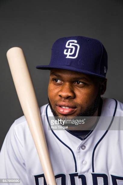 Manuel Margot of the San Diego Padres poses for a portrait at the Peoria Sports Complex on February 19 2017 in Peoria Arizona