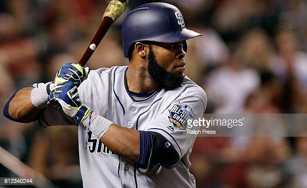 Manuel Margot of the San Diego Padres prepares to bat against the Arizona Diamondbacks during the seventh inning of a MLB game at Chase Field on...