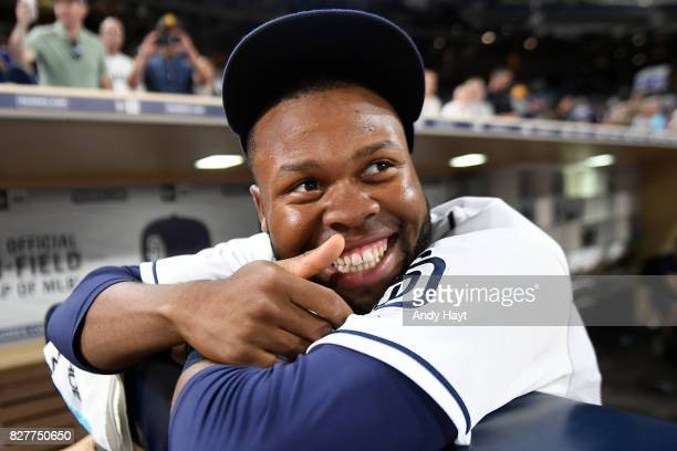 Manuel Margot of the San Diego Padres relaxes on the dugout steps after the game against the New York Mets at Petco Park on July 27 2017 in San Diego...