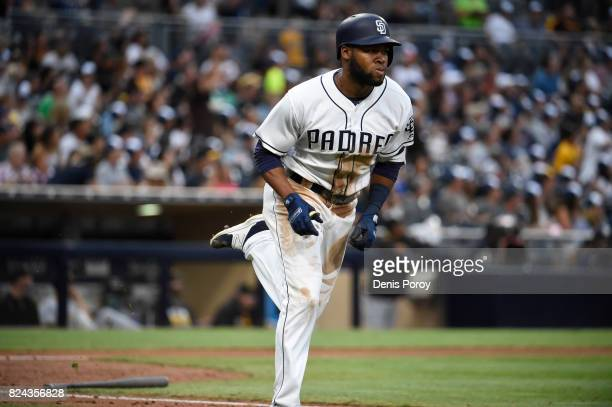 Manuel Margot of the San Diego Padres rounds the bases after hitting a solo home run during the fifth inning of a baseball game against the...