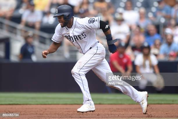 Manuel Margot of the San Diego Padres runs from first base during the game against the St Louis Cardinals at Petco Park on September 4 2017 in San...