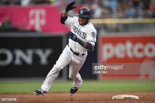 Manuel Margot of the San Diego Padres runs past second base after hitting a double during the game against the New York Mets at Petco Park on July 27...