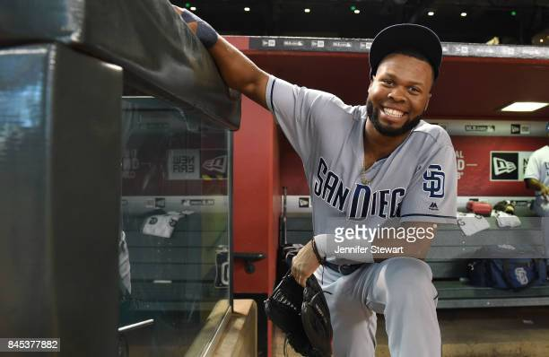 Manuel Margot of the San Diego Padres smiles for a photo prior to taking the field for the MLB game against the Arizona Diamondbacks at Chase Field...