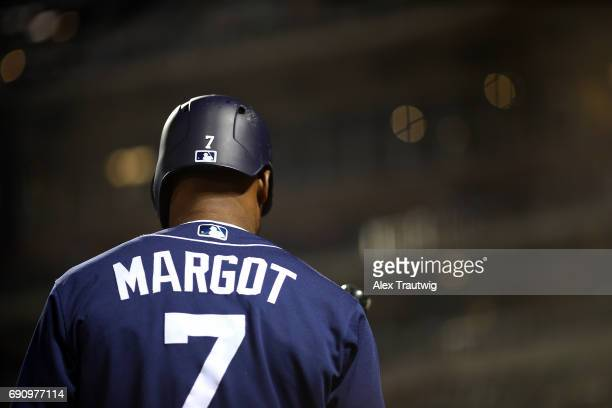 Manuel Margot of the San Diego Padres stands in the ondeck circle during the game against the New York Mets at Citi Field on Tuesday May 23 2017 in...