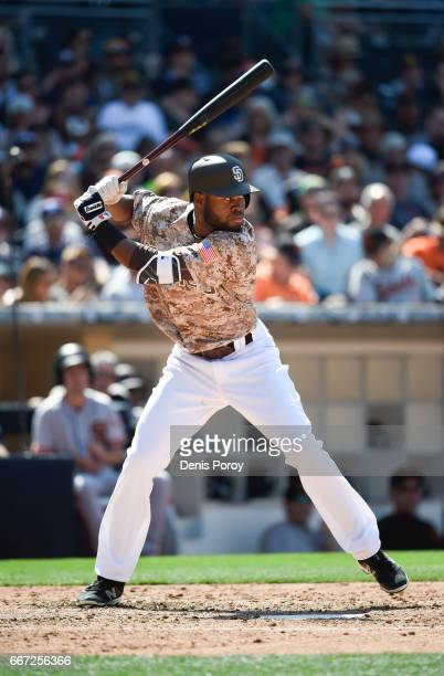 Manuel Margot of the San Diego Padresplays during a baseball game against the San Francisco Giants at PETCO Park on April 9 2017 in San Diego...