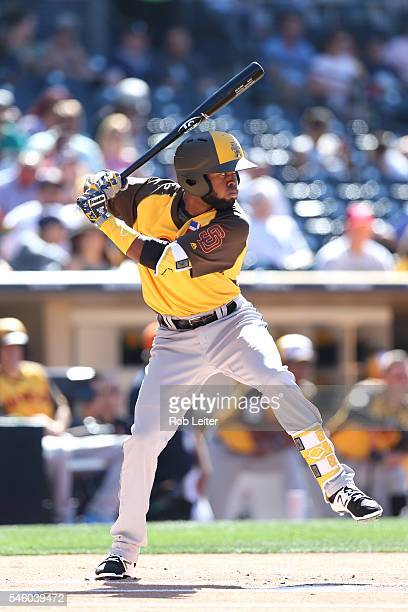 Manuel Margot of the World Team bats against Team USA during the SiriusXM AllStar Futures Game at Petco Park on Sunday July 10 2016 in San Diego...