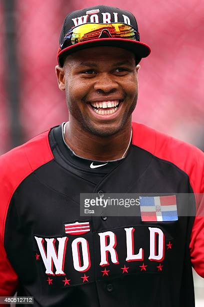 Manuel Margot of the World Team looks on prior to the SiriusXM AllStar Futures Game at the Great American Ball Park on July 12 2015 in Cincinnati Ohio