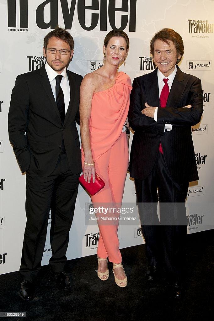 Manuel Martos, Amelia Bono and Spanish singer Raphael attend the Conde Nast Traveler Awards 2014 at the Jardines de Cecilio Rodriguez on April 24, 2014 in Madrid, Spain.