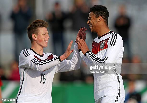 Manuel Mbom of Germany jubilates with team mate Justin Neiss after scoring the first goal during the U16 international friendly match between Germany...