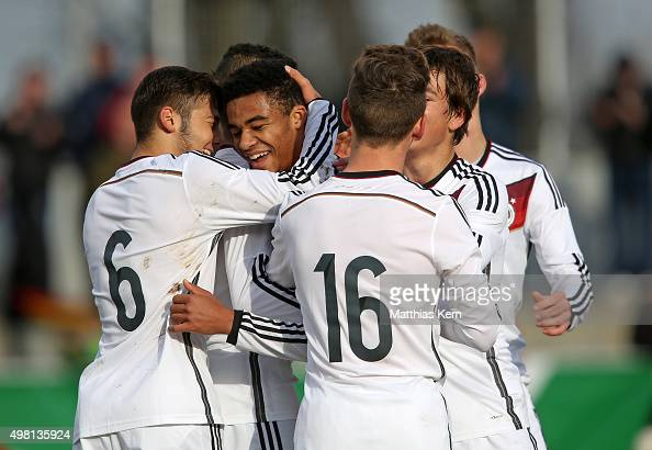 Manuel Mbom of Germany jubilates with team mates after scoring the first goal during the U16 international friendly match between Germany and Czech...
