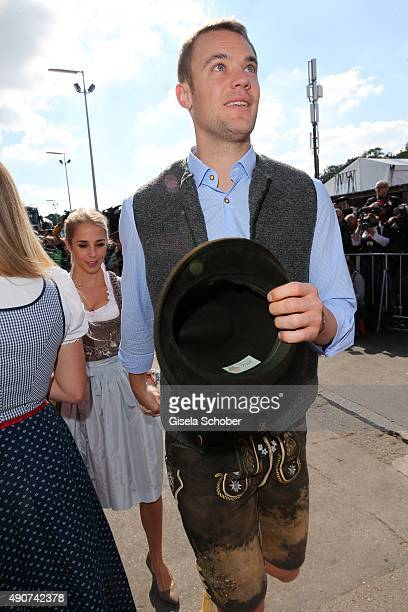 Manuel Neuer and Nina Weiss attend the 'FC Bayern Muenchen Wiesn' during Oktoberfest 2015 at Kaeferschaenke on September 30 2015 in Munich Germany