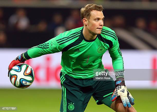 Manuel Neuer goalkeeper of Germany reacts during the International Friendly Match between Germany and Chile at MercedesBenz Arena on March 5 2014 in...