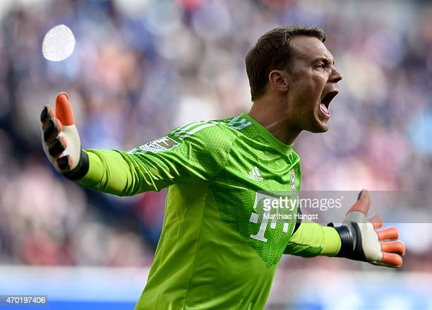 Manuel Neuer goalkeeper of Muenchen reacts during the Bundesliga match between 1899 Hoffenheim and FC Bayern Muenchen at Wirsol RheinNeckarArena on...