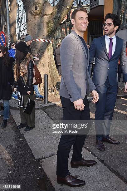 Manuel Neuer is seen at the Giorgio Armani Show during the Milan Menswear Fashion Week Fall Winter 2015/2016 on January 20 2015 in Milan Italy