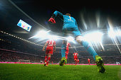 Manuel Neuer keeper of Muenchen enters the field with his team mates for the Bundesliga match between FC Bayern Muenchen and FC Schalke 04 at Allianz...